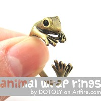 Lizard Gecko Animal Wrap Around Ring in Brass - Size 4 to 9 Available