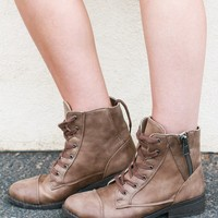 JANE COMBAT BOOTIES IN TAUPE
