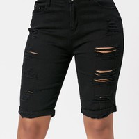 Distressed Bermuda Cuffed Shorts