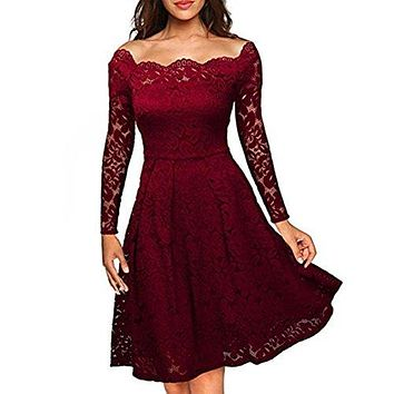 TOOPOOT Evening Dress Women's Elegant Floral Lace Long Sleeve Boat Neck Formal Swing Dress