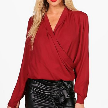 Darcy Draped Long Sleeve Blouse | Boohoo