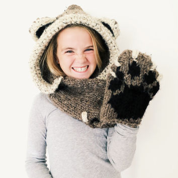 Bear Hat Hood Cowl Scarf Knit Toddler Child Adult // Bennett the Bear Hood