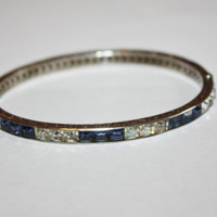 Art Deco Sterling Channel Set Blue White Crystal Hinged Bangle 1920s Jewelry