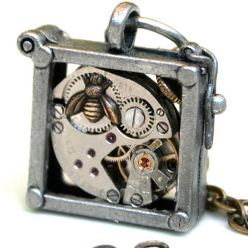 Steampunk industrial window box framed vintage watch movement necklace