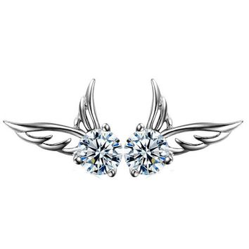 925 silver crystal angel wings tiny studs earrings gift box  number 1