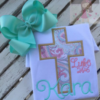 Easter Shirt or Bodysuit for girls -- He Is Risen -- Easter shirt with cross of Jesus and Luke 24:6 in beautiful pastels, aqua, pink, gold