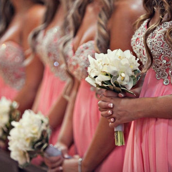 2016 New Arrival Short Chiffon Pink Bridesmaid Dresses With Beads And Sequins Party Homecoming Dress