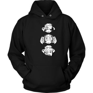 Three Wise Monkeys Design Monkey Face Funny Tank and Hoodie