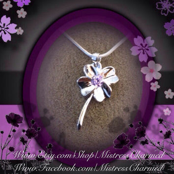 Purple Amethyst Crystal Lucky 4 Leaf IRISH Clover, Sterling Silver Charm on 925 Sterling Silver Snake Chain Necklace