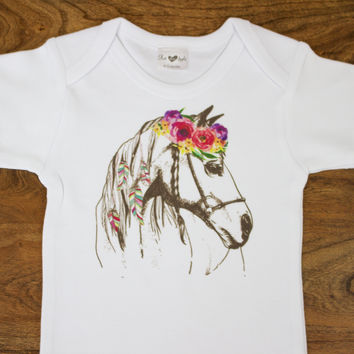Floral Horse Top