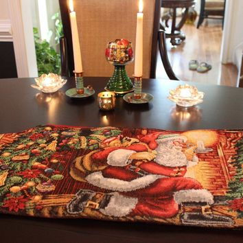 Tache Festive Down the Chimney Woven Tapestry Table Runners