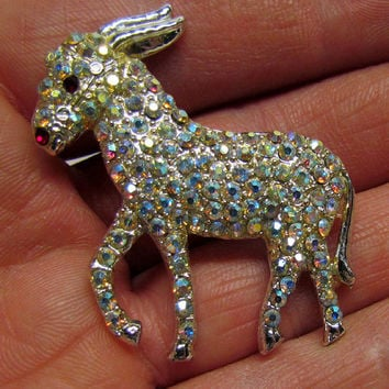 Vintage Brooch Pin, Silver Tone Donkey Burro with lots of Rhinestones