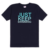 Just Keep Swimming Unisex Heavyweight Tee-Unisex Navy T-Shirt
