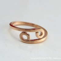 Zodiac Sign Adjustable Rose Gold Ring
