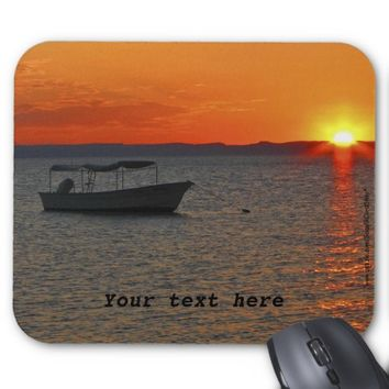 Mouse Pad Fishing Boat at Sunset Orange Sky