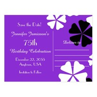 Save Date 75th Birthday Party Purple Announcement Postcard
