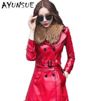 Faux Raccoon Women's Fur Coat Red Leather Jacket Women Coats Leather Jackets New Double Breasted Veste Cuir Fourrure 5XL WUJ1203