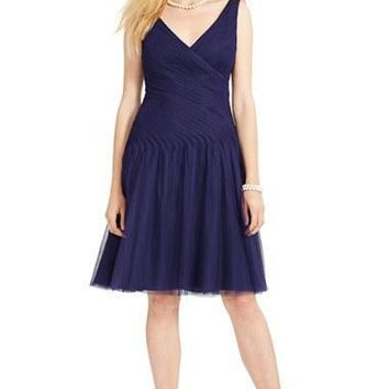 Women's Lauren Ralph Lauren 'Camillamae' Shirred Tulle Fit & Flare Dress,