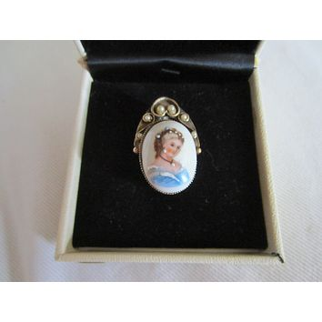 Limoges France Cameo Pendant Brooch Brass Cage Decorated Seed Pearls