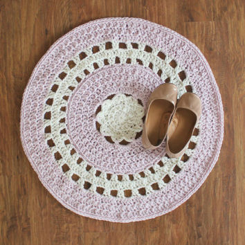 "30"" Crochet Doily Rug, Textured Rug, Nursery Rug, Baby Rug, Pink and White Rug, Wedding Decor, Baby Shower Gift"