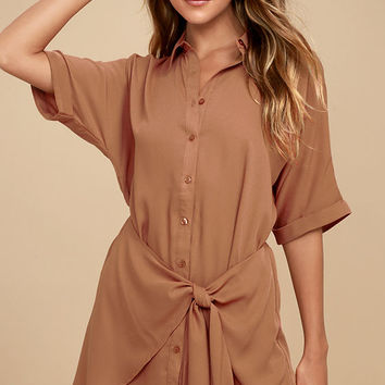 Go With the Flow Light Brown Shirt Dress