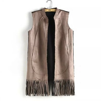 Sleeveless Fringed None-Button Suede Leather Blazer
