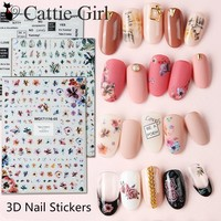 1 Sheet Leaf 3D Nail Art Transfer Stickers Specimen Flower Nail Designs Japanese Nail Accessories for Nail Decorations