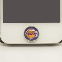 1PC Glass Epoxy NMA Team Los Angeles Lakers Cell Phone Home Button Sticker Charm for iPhone 6, 4s,4g,5,5c,5s Gift for Boy or Men