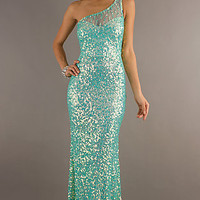 Primavera Long Sequin One Shoulder Prom Gown