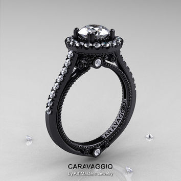 Caravaggio 14K Black Gold 1.0 Ct White Sapphire Diamond Engagement Ring, Wedding Ring R621-14KBGDWS