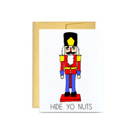 Nutcracker Christmas holiday greeting card // silly funny hide yo nuts red gold white jolly xmas nut cracker fun December naughty