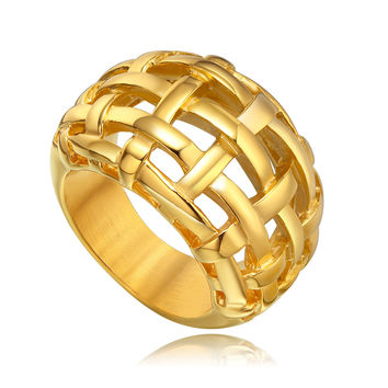 Stainless Steel Woven Basket Pattern Ring - Gold Color