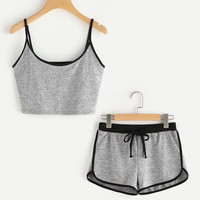 Ringer Crop Cami Top With Drawstring Shorts -SheIn(Sheinside)