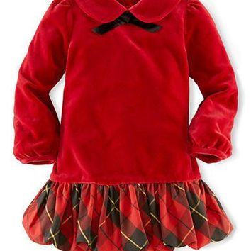 Ralph Lauren Childrenswear Baby Girls Velour Party Dress