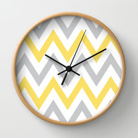 Gray & Yellow Chevron Wall Clock by dani