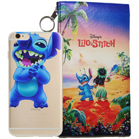 Disney's Lilo & Stitch Eating Logo Clear Case For Apple Iphone  6/6s + Pouch