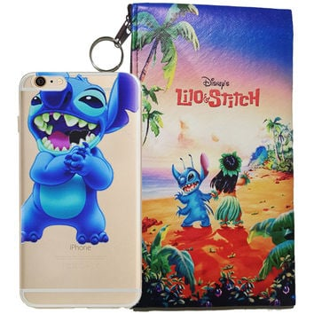 Disney's Lilo & Stitch Eating Logo Clear Case For Apple Iphone  6/6s PLUS + Pouch