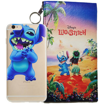 Disney's Lilo & Stitch Eating Logo Clear Case For Apple Iphone  5/ 5s /SE + Pouch