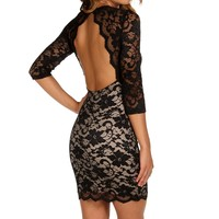 Black/nude Lace Open Back Dress