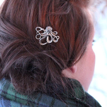 Single Silver Octupus Bobby Pin - Silver Colored Octopus - Octopus Hair Accessories