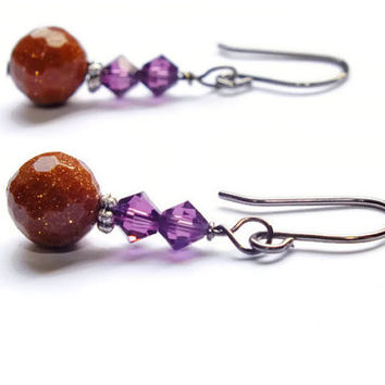 Goldstone Earrings, Gunmetal Earrings, Swarovski Earrings, Amethyst Swarovski
