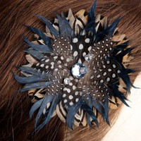 Handmade Blue Print Feather Fascinator | peaceloveandallthingsjewelry - Accessories on ArtFire