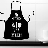 Wall Vinyl Decal Kitchen Decorations Apron Words My Kitchen My Rules z4763