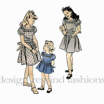 1930s 1940s Girls' Dirndl DRESS Frock Hipline Pockets Tie Back Square Ruffled Neckline Butterick 3879 UNCUT Vintage Sewing Pattern Breast 24