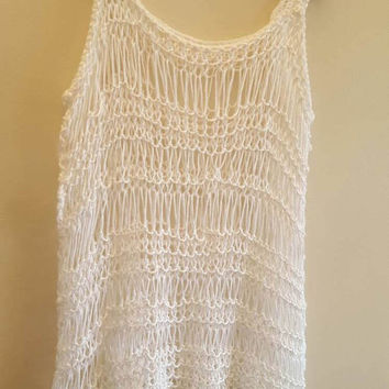 Knit crochet white tank. Women's large. Beach top. Made by Bead Gs on ETSY
