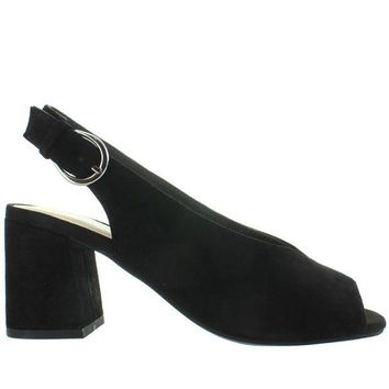 DCCKIN4 Seychelles Playwright - Black Suede Sling-Back Sandal