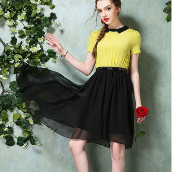 Block Short-Sleeve Asymmetrical Dress With Belt