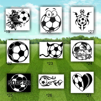 SOCCER vinyl decals - #19-27 - personalizable car window stickers