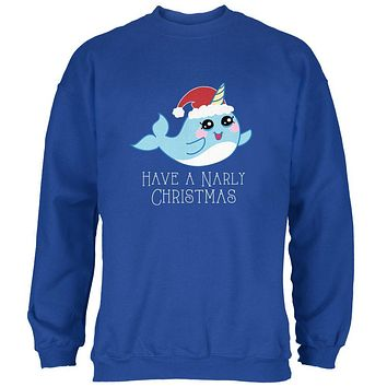 Narwhal Have a Narly Gnarly Christmas Mens Sweatshirt