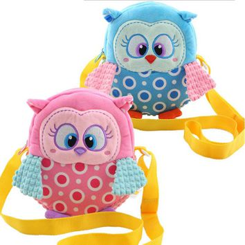 Plush Owl Backpack Toddler Toys Backpack Baby Food Bags Storage Bags Toys cartoon Infant toddler doll Toys gift kids' bag